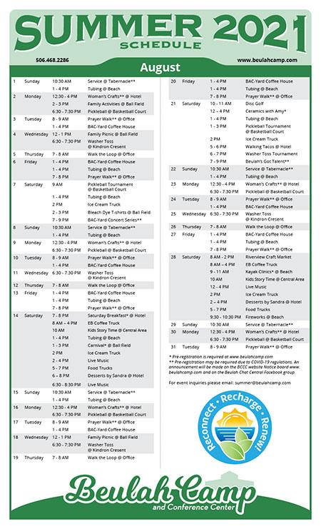 Summer Schedule 2021 - August