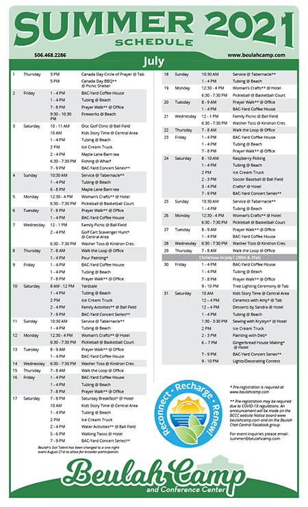 Summer Schedule 2021 - July